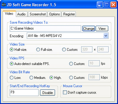 Zd soft game recorder screenshot
